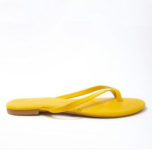 New Women's Faux Leather Thong Sandals Yellow